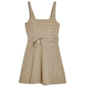 TopShop Jacquard Checkered Pinafore Dress